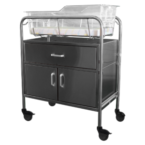 """Stainless Steel Bassinet with Drawer and 12"""" Closed Cabinet"""