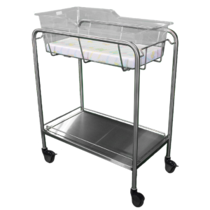 Stainless Steel Bassinet Carrier with Bottom Shelf & Rails
