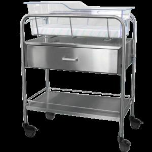 Stainless Steel Bassinet Carrier with Drawer & Bottom Shelf