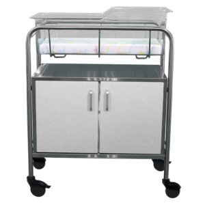 Stainless Steel Wood Faced Bassinet with Closed Cabinet