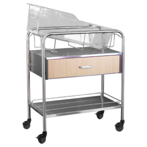Stainless Steel Wood Faced Bassinet with Drawer & Shelf