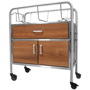 Stainless Steel Wood Face Bassinet with Drawer & Cabinet